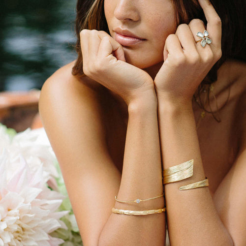 Diamond slice gold bracelet Leila Thomas