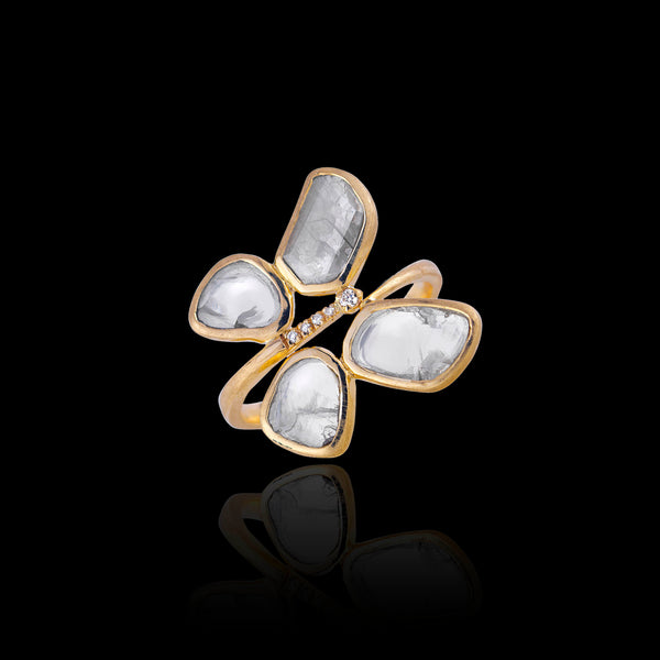 Diamond slice butterfly ring gold Zoraida