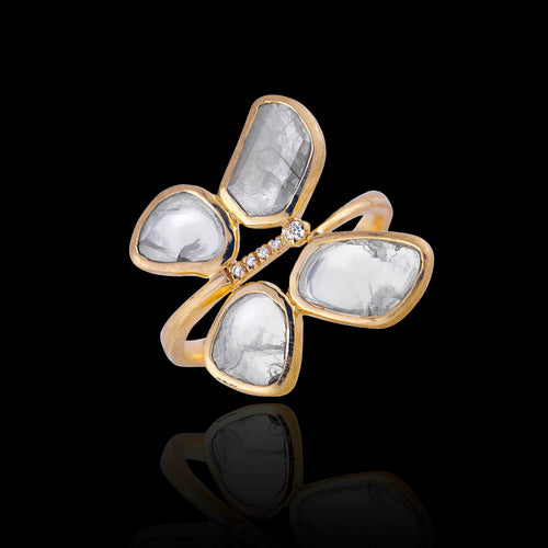Moonstone Polki Raindrop Ring