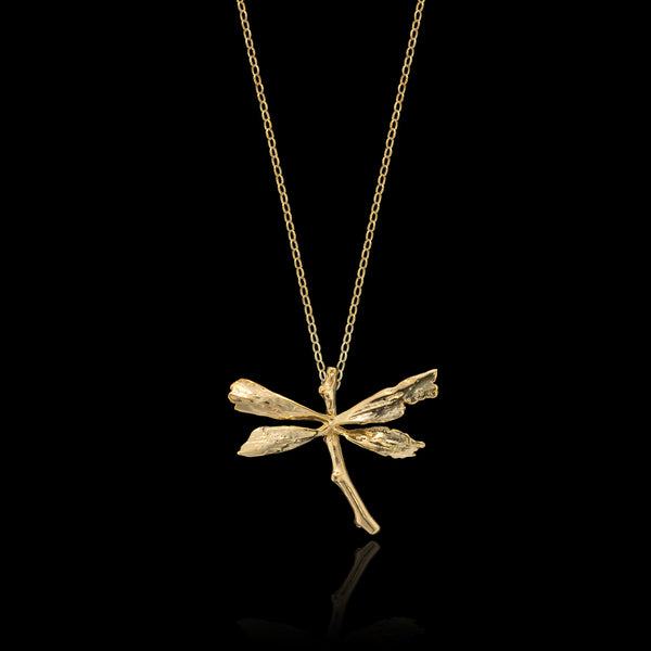 Gold Dragonfly Pendant by Catherine Zoraida Jewellery