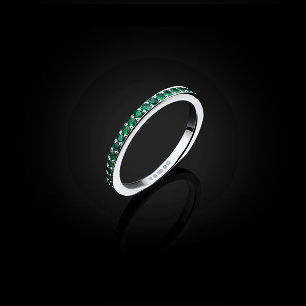 Emerald and White Gold Eternity Ring by British Jewllery Designer Catherine Zoraida