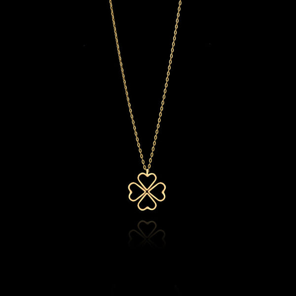Close Up Fairtrade Gold Lucky Love Clover Pendant By Catherine Zoraida