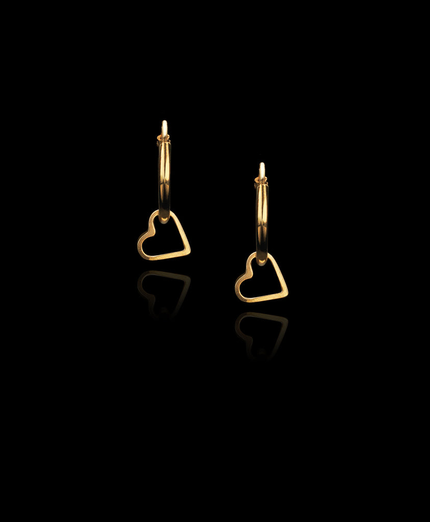 Gold Fairtrade Loveheart Hoop Earrings