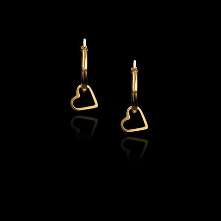 Gold Fairtrade Love Heart Hoop Earrings
