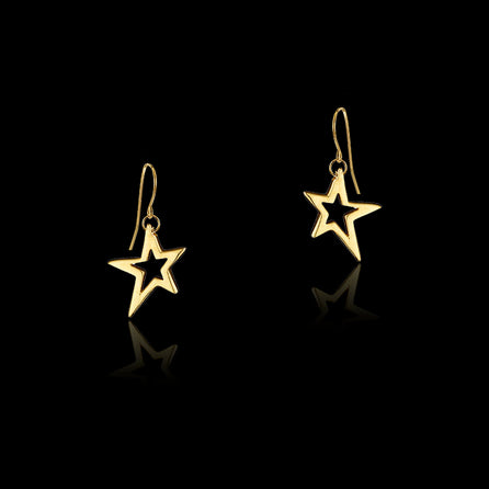 Gold Fairtrade Shooting Star Drop Earrings