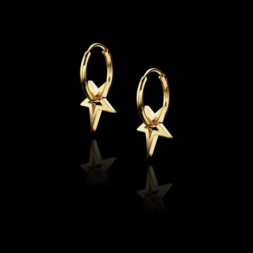 Gold Mini Double Leaf Earrings
