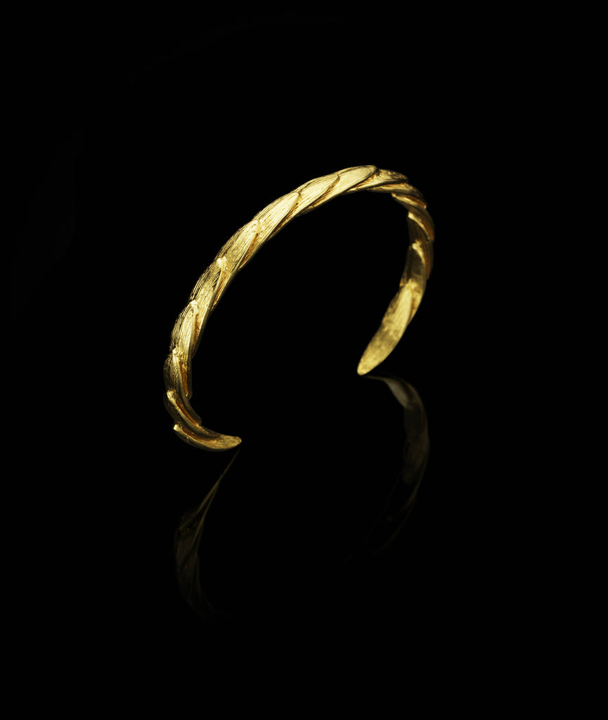 Top view of Side view of Gold Feathered Leaf Cuff / bracelet by UK Jewellery Designer Catherine Zoraida
