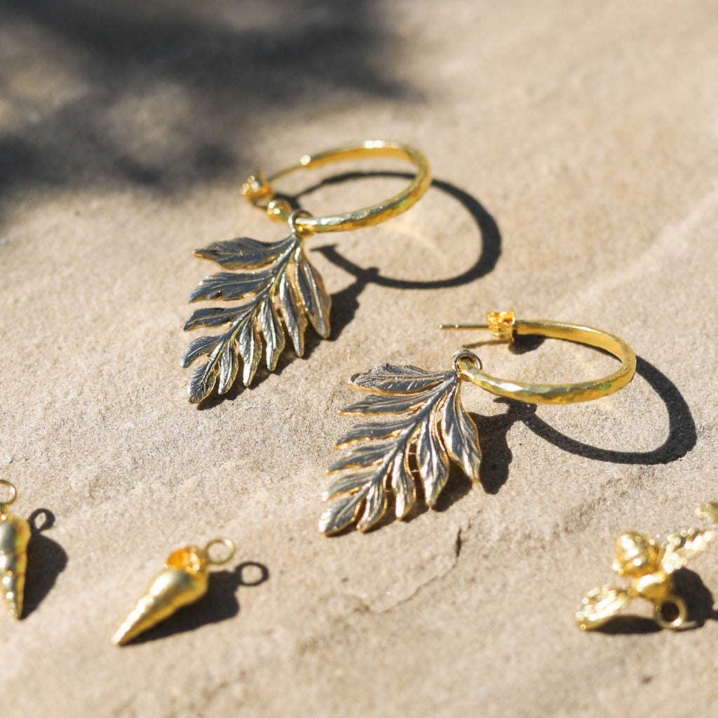 Fern Hammered Hoop Earring Charms