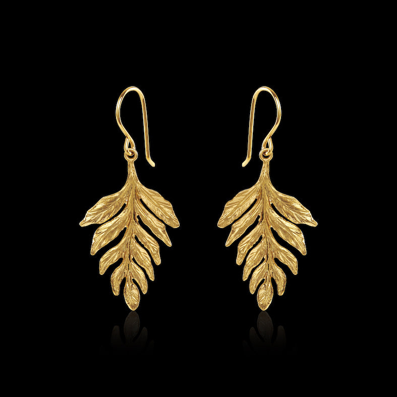 Gold Fern Drop Earrings