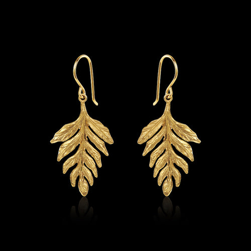 Gold Fern Stud Earrings