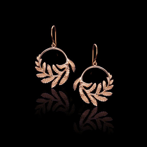 Delicate Gold Fern Hoop Earrings as seen on Kate Middleton the Duchess of Cambridge. Designed by British jeweller Catherine Zoraida