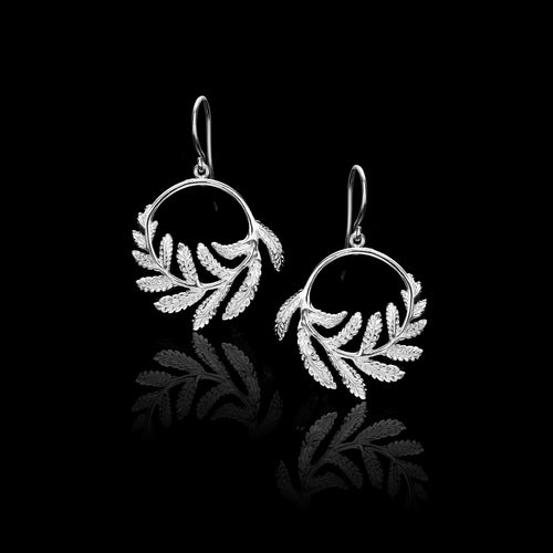 Silver Maple Leaf Stud Earrings