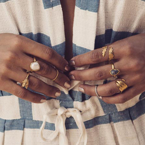 Rocky Barnes wears Zoraida Gold Fern Wrap Ring