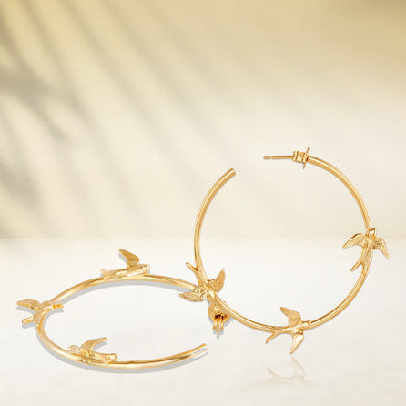 Gold Flight of the Swallow Hoop Earrings
