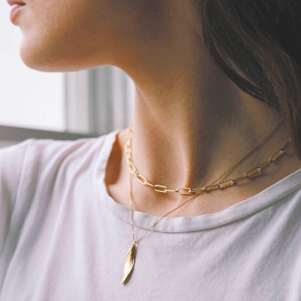 Gold Glitter Chain Necklace