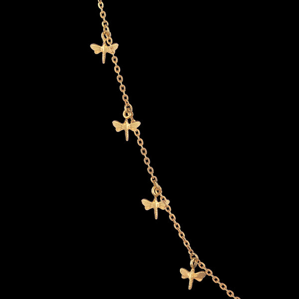 Gold dancing dragonfly necklace by Zoraida London Jewellery