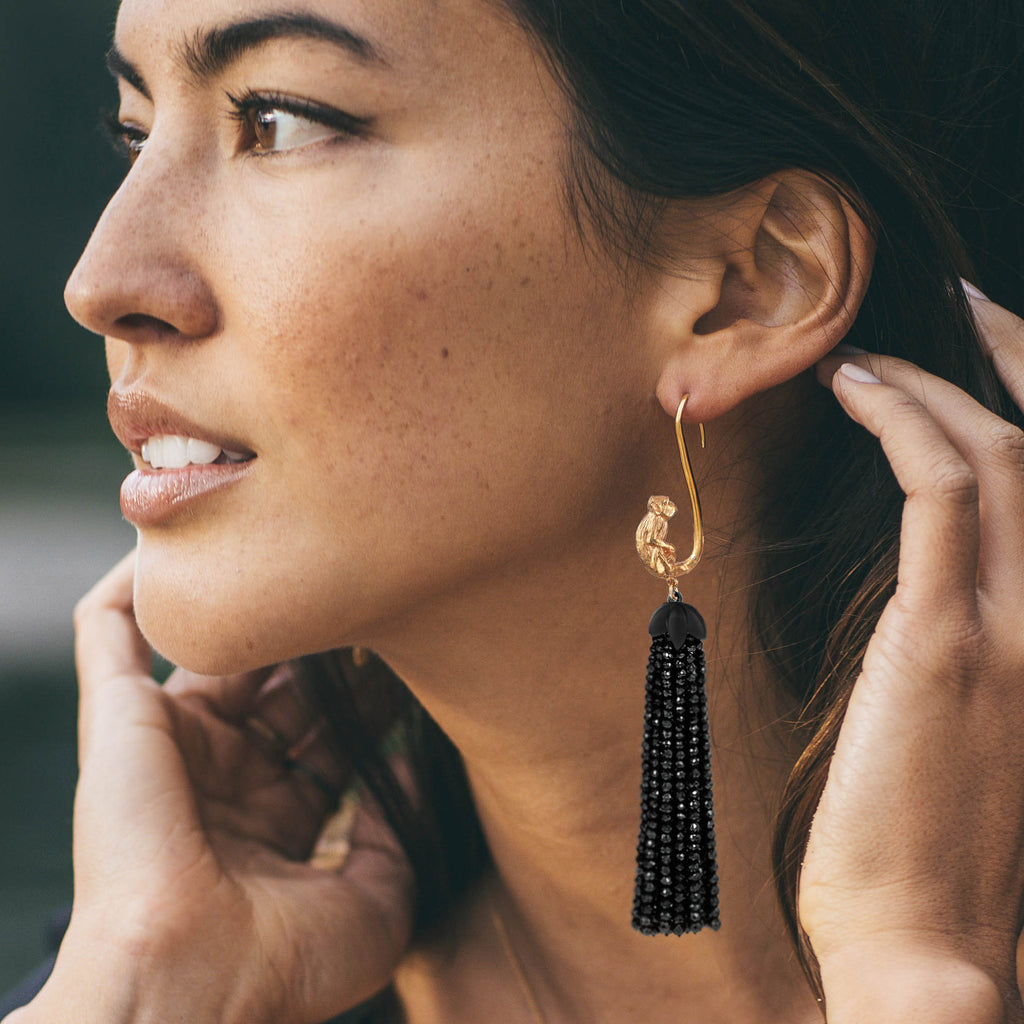 Gold monkey tassel earrings Leila Thomas