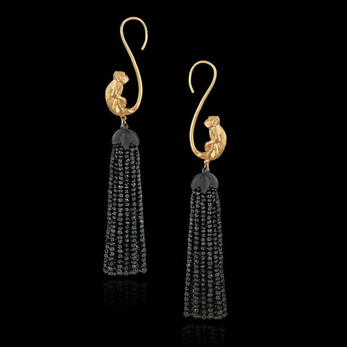 Gold monkey tassel earrings by Zoraida London Jewellery
