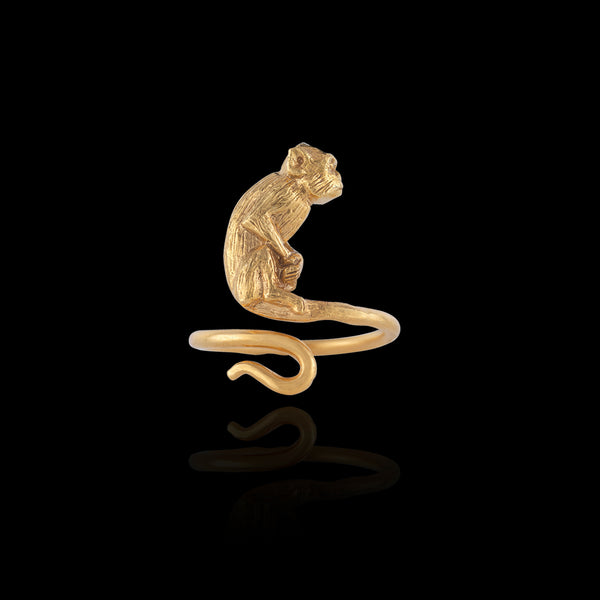 Gold Monkey Ring by Zoraida London Jewellery