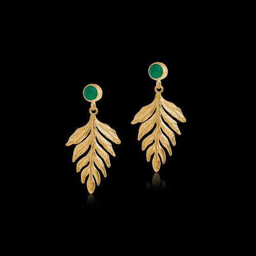 Green Agate Fern Drop Earrings by Zoraida London Jewellery