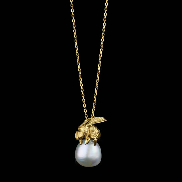 Gold Honeybee and Moonlight Pearl Pendant