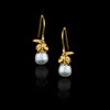 Gold Honeybee and Moonlight Pearl Earrings