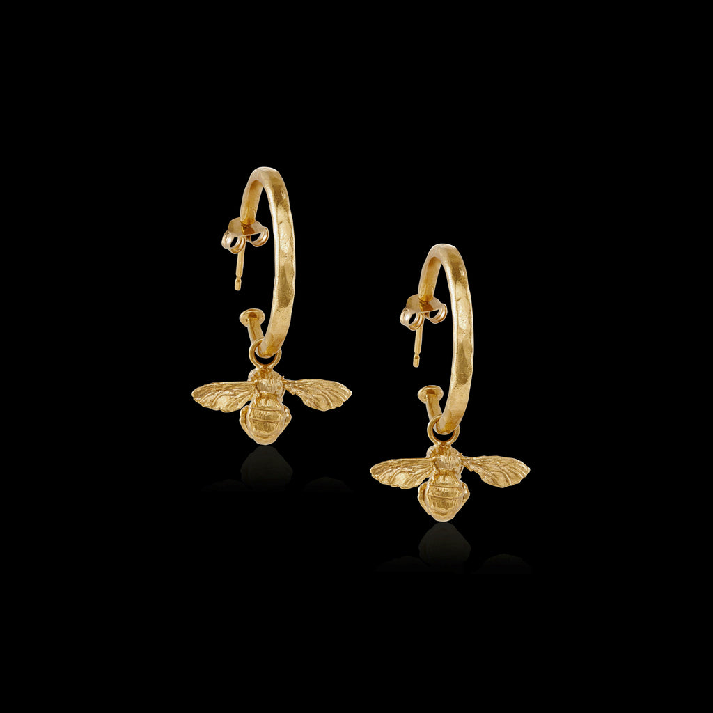 Little Bee Hammered Hoop Earrings by Zoraida London Jewellery