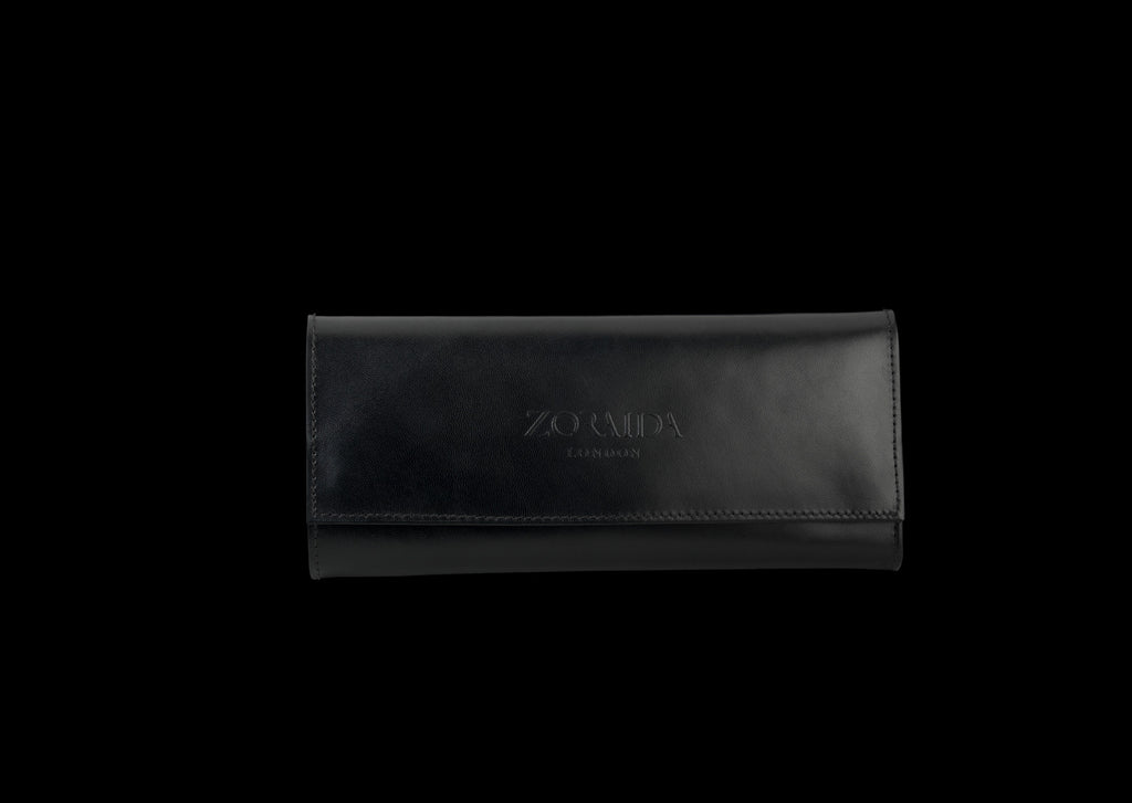 Black Leather Maui Jewellery Travel Roll by Catherine Zoraida