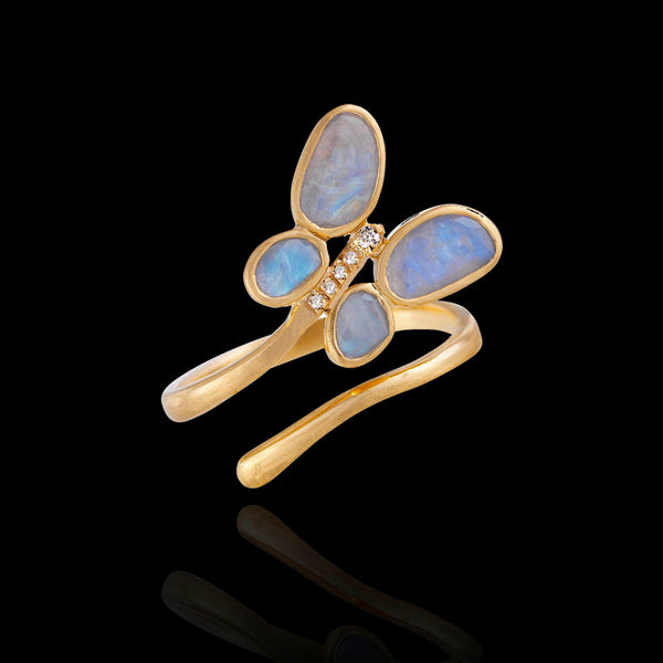 Labradorite slice gold butterfly wrap ring by Zoraida Jewellery