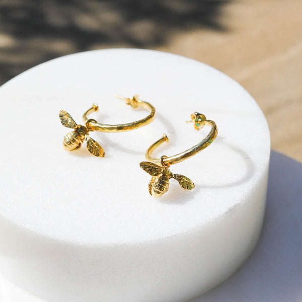 Little Bee Hammered Hoop Earrings with sliding charms.