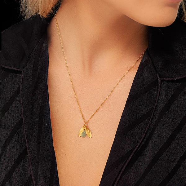 Gold Lucky Leaf Drop Pendant