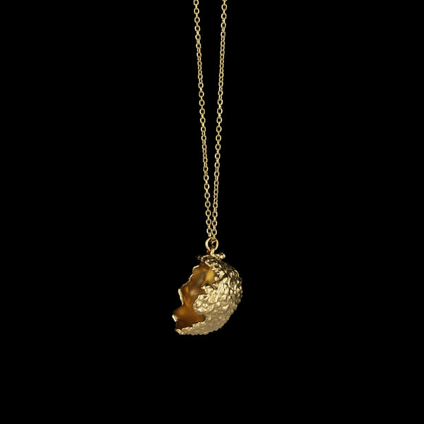 Side profile of the gold plated necklace cast from a real Lychee. A unique design by Catherine Zoraida jewellery