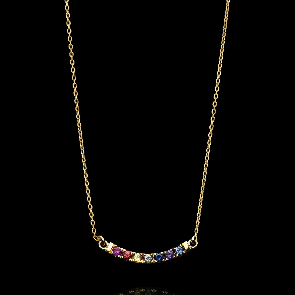 gold maui rainbow sapphire necklace by jewellery designer catherine zoraida jewellery