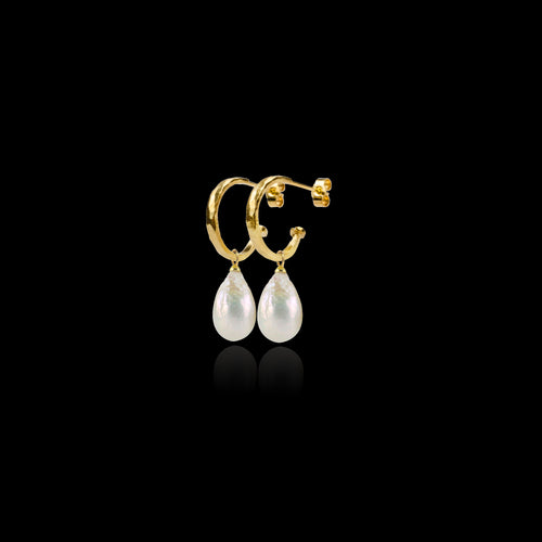 Gold Mini Hammered Hoop and Pearl Earrings