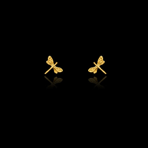 Gold Dragonfly design earring Studs by Zoraida London