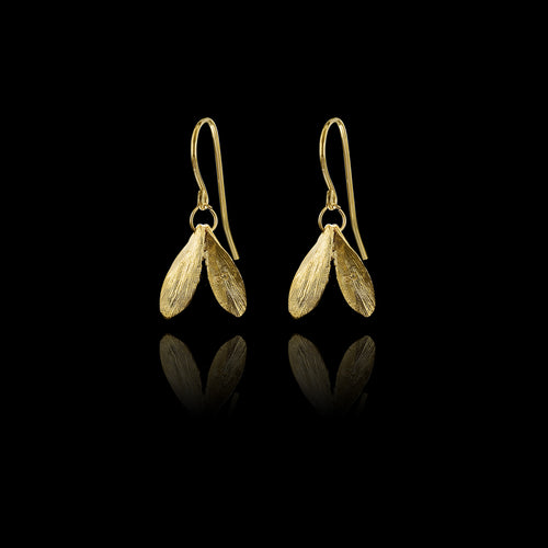 Gold Double Leaf Earrings and Pearl