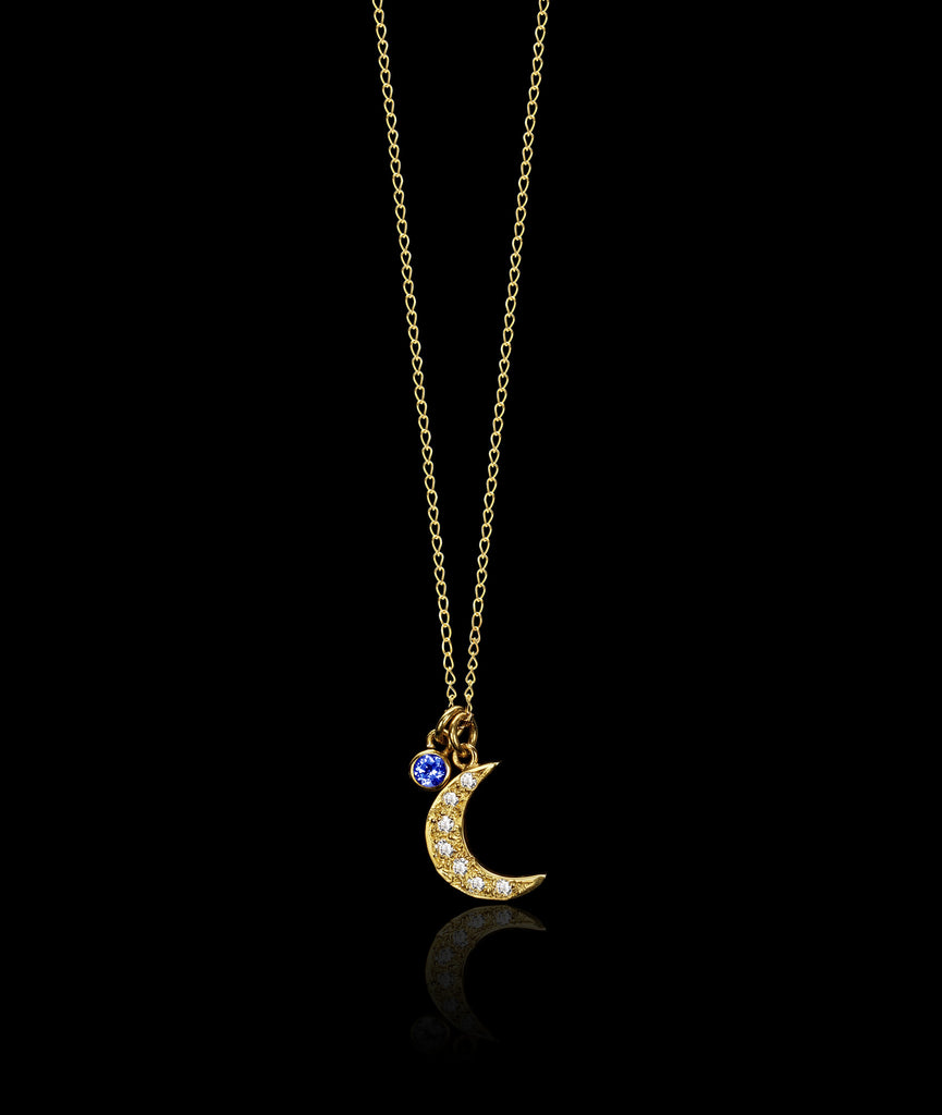 Moon and Sapphire Pendant by Catherine Zoraida