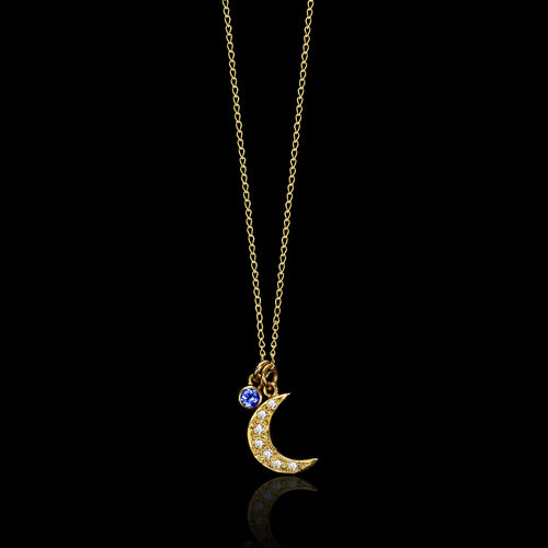 Silver Starry Night Cosmic Moon Pendant