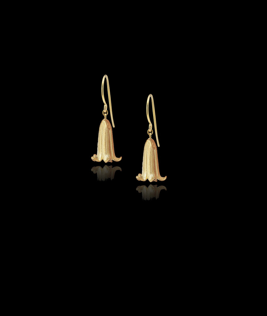 Delicate Gold Bluebell Earrings by UK Jewelery Designer Catherine Zoraida