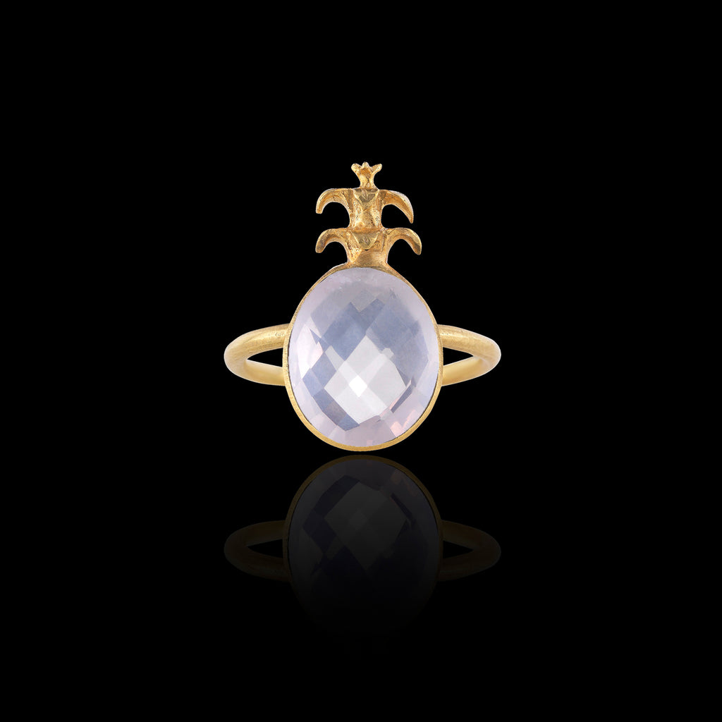 Rose quartz and gold pineapple ring by Zoraida London Jewellery