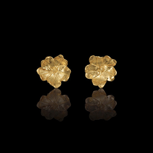 Gold Primrose Stud Earrings by Catherine Zoraida