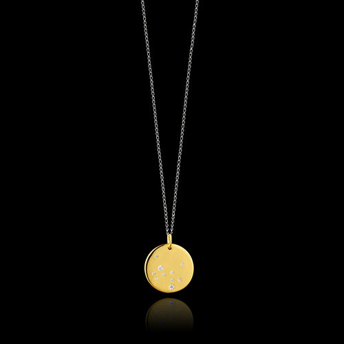 Sagittarius Zodiac star sign pendant in gold with silver chain. Made by British jewellery designer Catherine Zoraida
