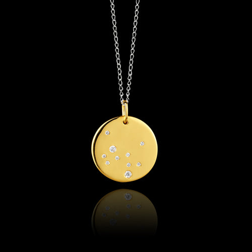 Gold Cancer Zodiac Pendant