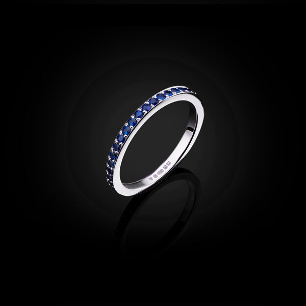 Sapphire and White Gold Eternity Ring by British Jewllery Designer Catherine Zoraida