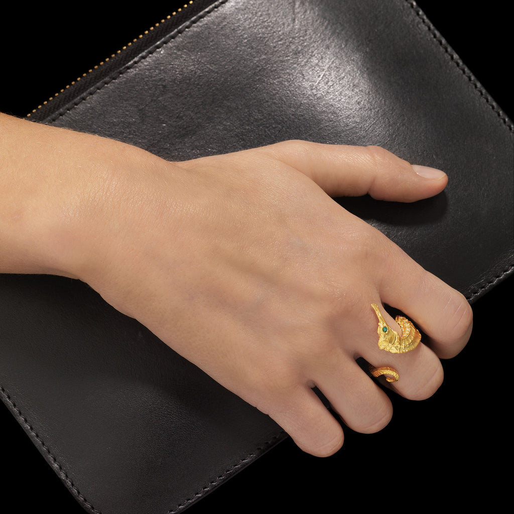 Gold Seahorse Ring by jewellery designer Catherine Zoraida London