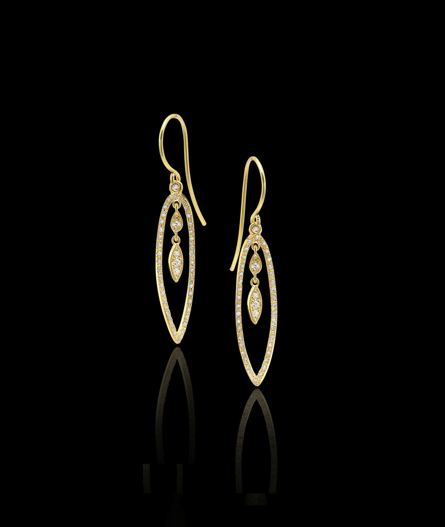 Gold and crystal Good Evening Earrings by Catherine Zoraida