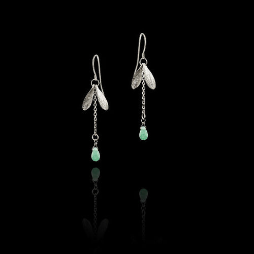 Silver Double Leaf Earrings and Pearl