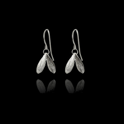 Silver Mini Double Leaf Earrings by Catherine Zoraida