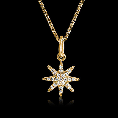Gold Star Burst Pendant by Zoraida London Jewellery