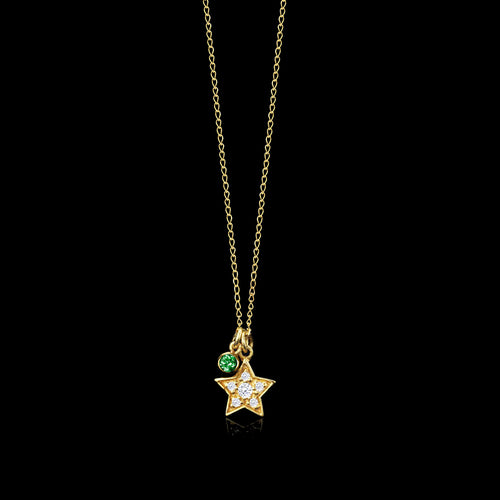 Gold Starry Night Cosmic Moon Pendant